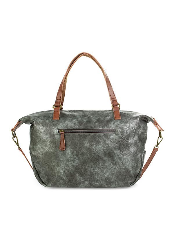 bolso con bandolera gris metalizado