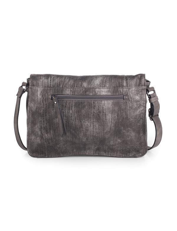 bolso bandolera gris metalizado