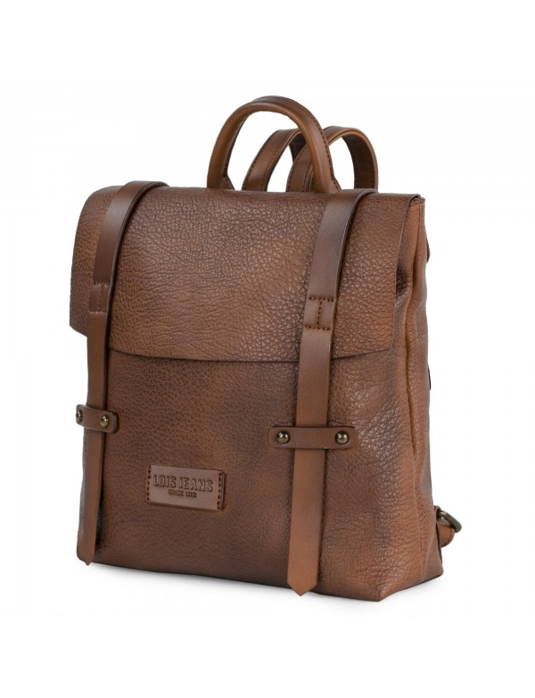 Bolso mochila unisex Lois colección Calgary con cierre solapa y cremallera asas de mano y extensibles para espalda